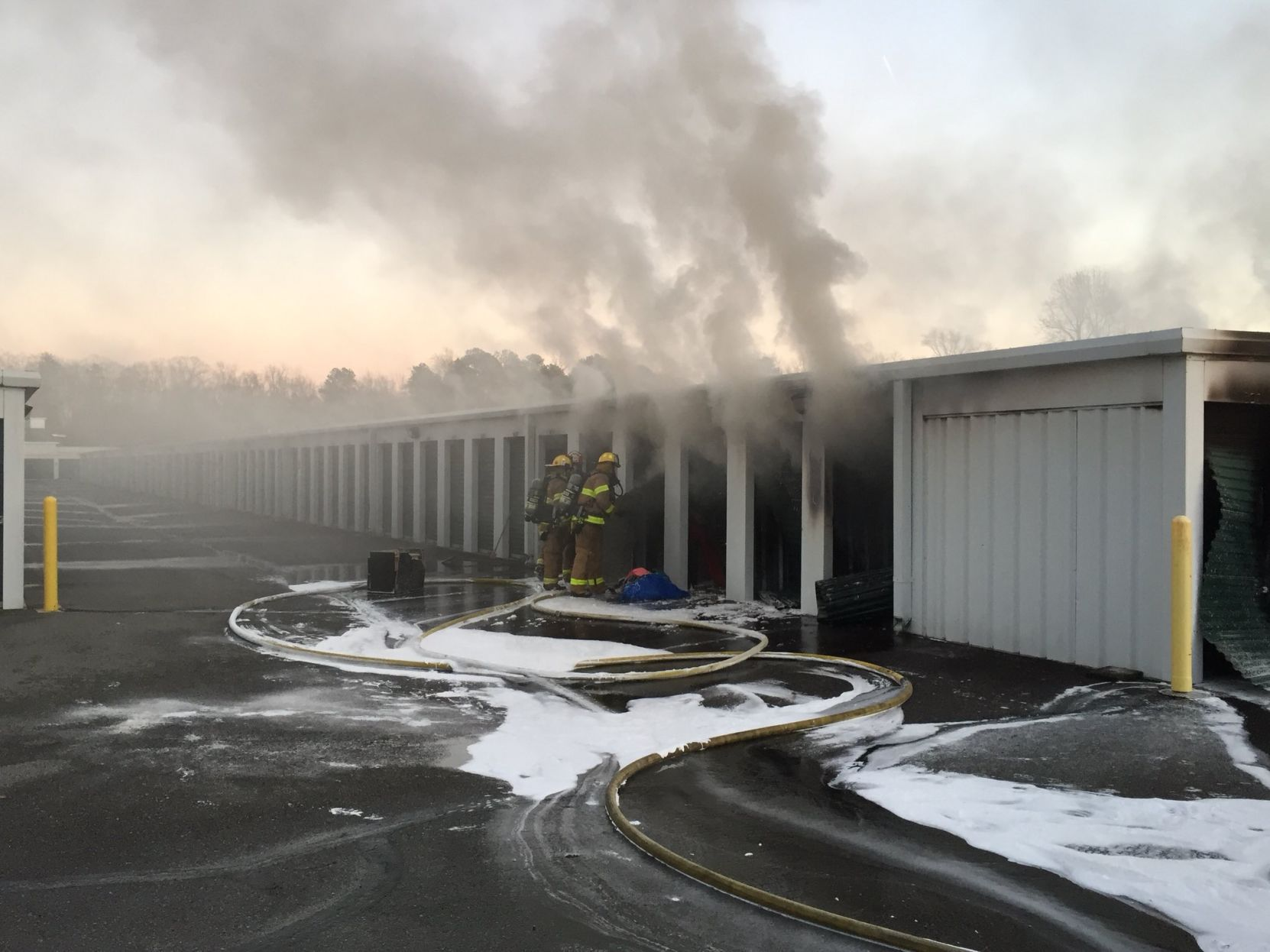 Storage unit fire off state Route 10 & Chesterfield firefighters working 2 alarm blaze at storage facility ...