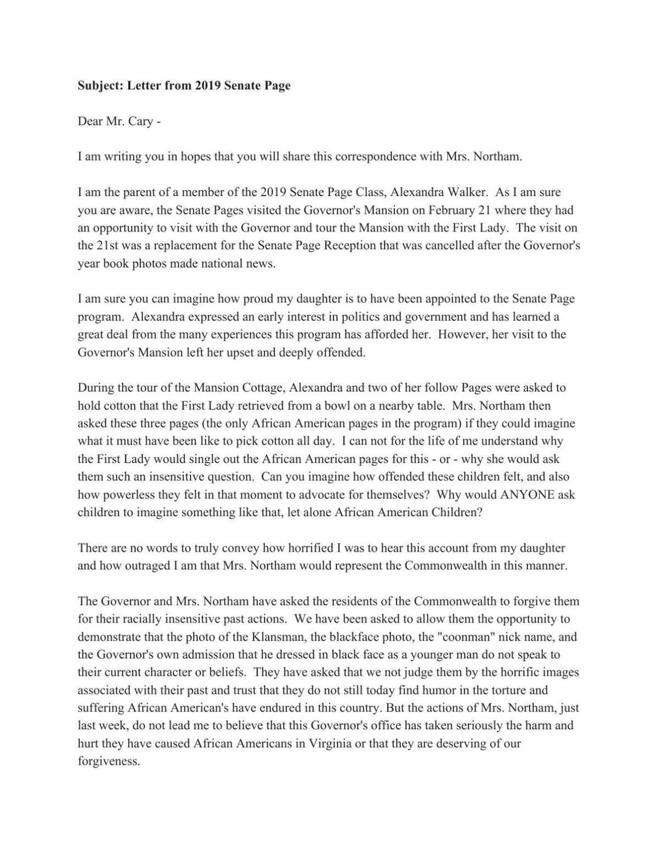 Letter from Leah Dozier Walker | | richmond com