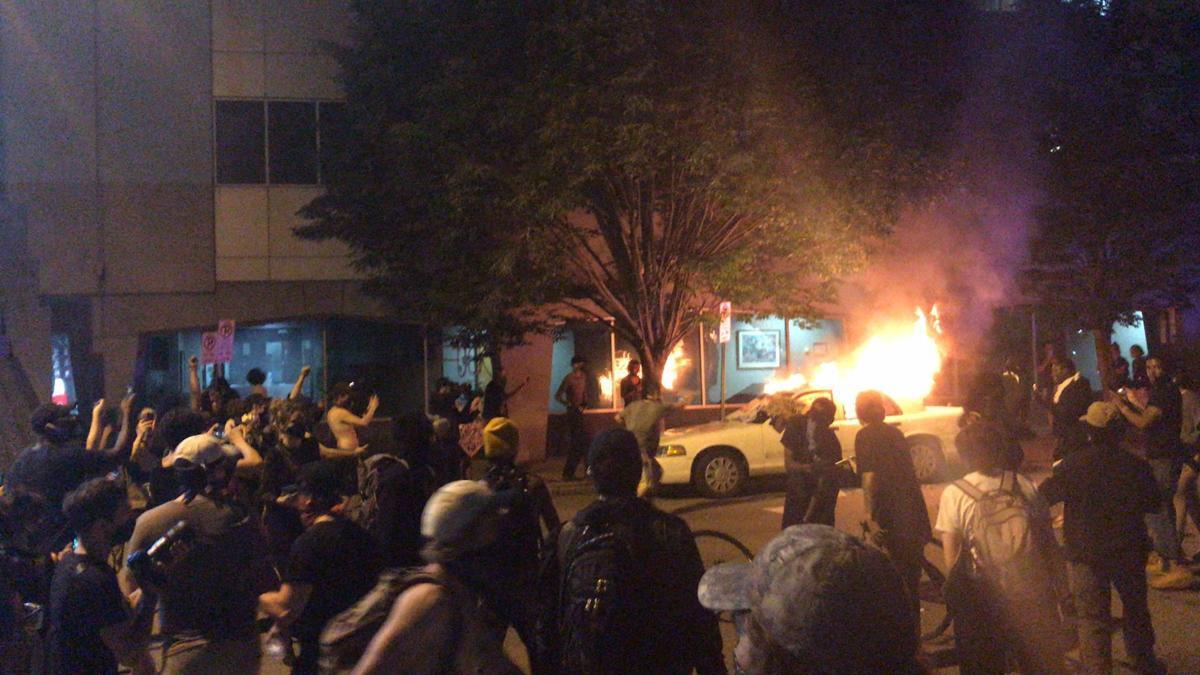 Car on fire outside RPD