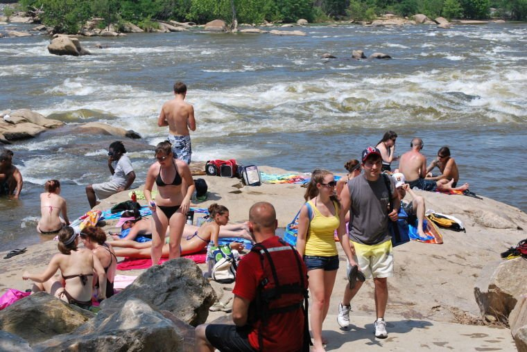 Crowds at Belle Isle in James River Park