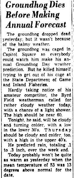 Groundhog dies in 1954 before prediction in Richmond.