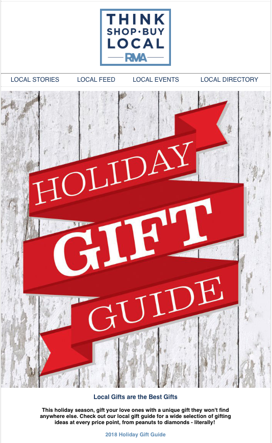"""""""Think. Shop. Buy. Local"""" holiday online gift guide."""