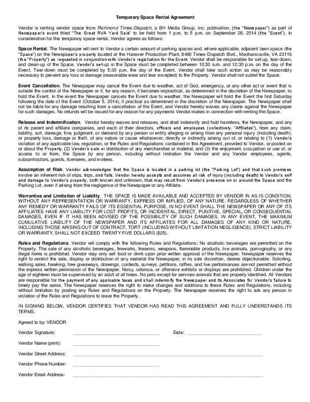 Tempoary Space Rental Agreement Great Rva Yard Sale Richmond