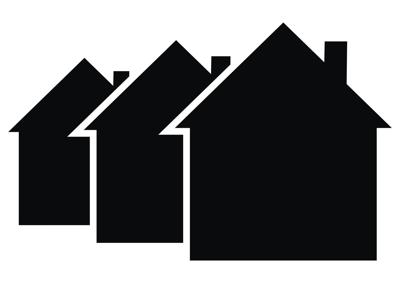Three black houses, vector icon