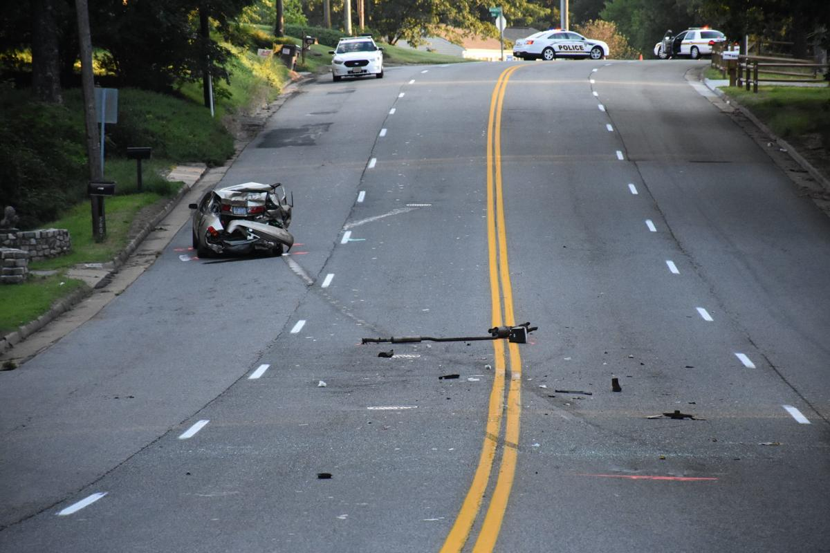 Wreckage of family's car that was struck from behind on Belmont Road