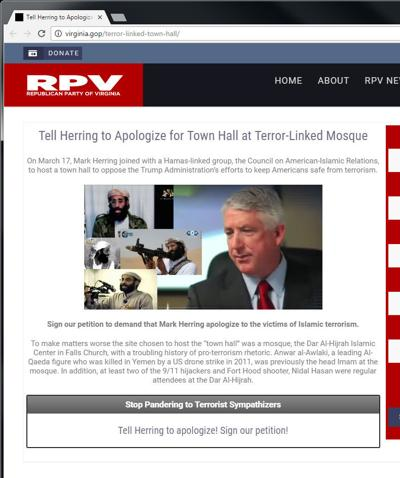 The Republican Party of Virginia website attacks Herring over mosque visit