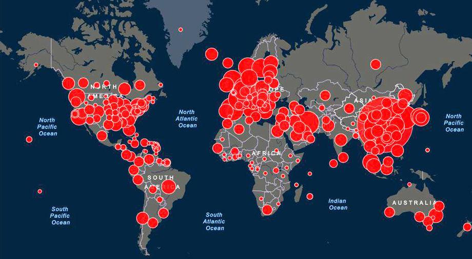 Online Map By Johns Hopkins Tracks Coronavirus Cases Around The Globe National News Richmond Com