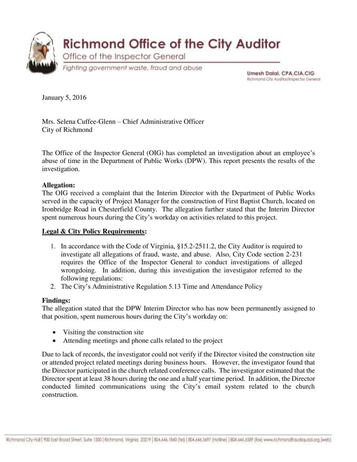 Inspector General report of Jan  5, 2016 | | richmond com