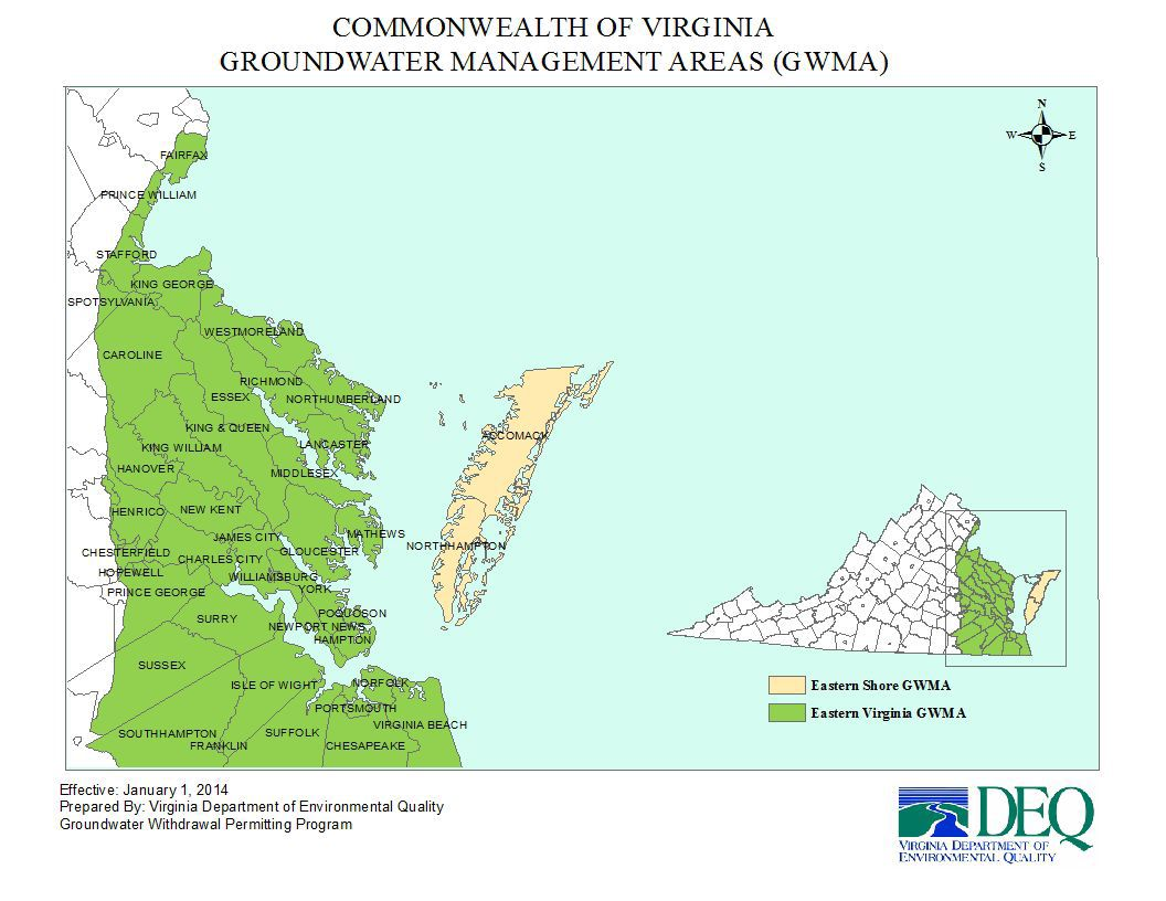 Virginia groundwater management areas