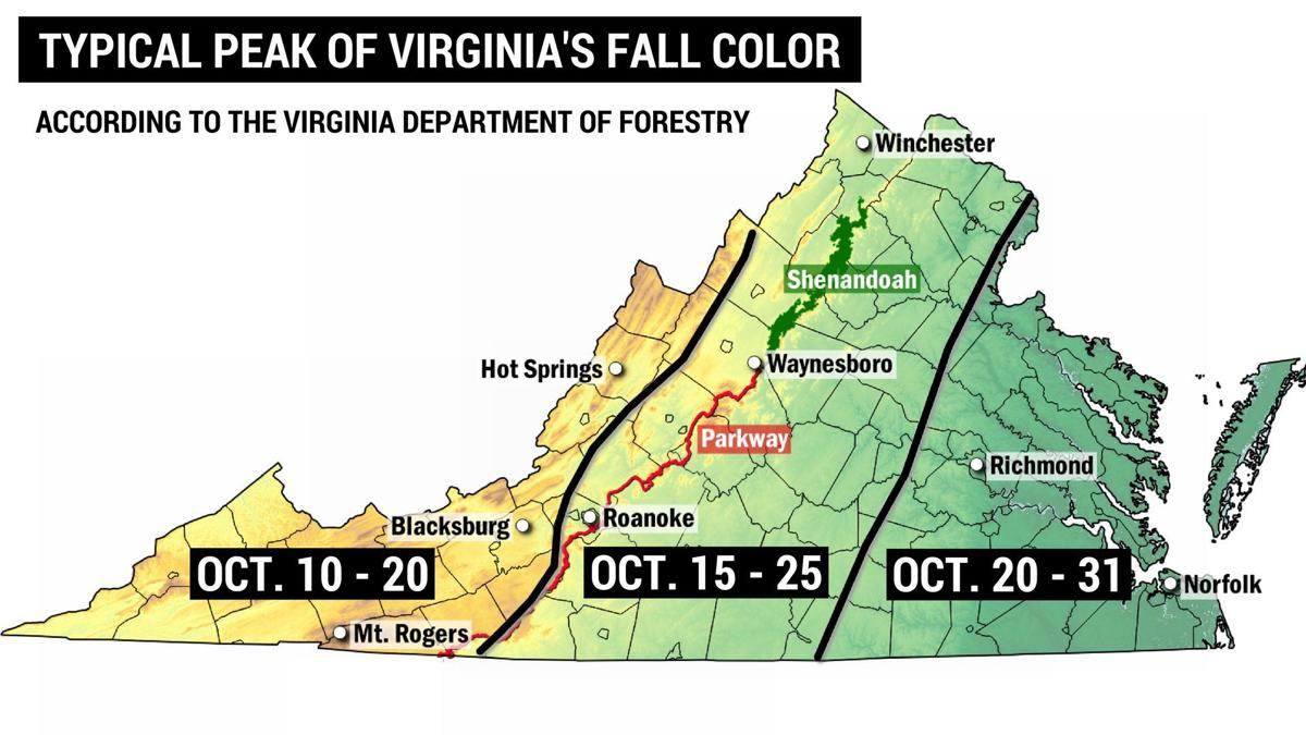 Colors On Weather Map.Up And Down Weather Is Having An Effect On Fall Color In Va And
