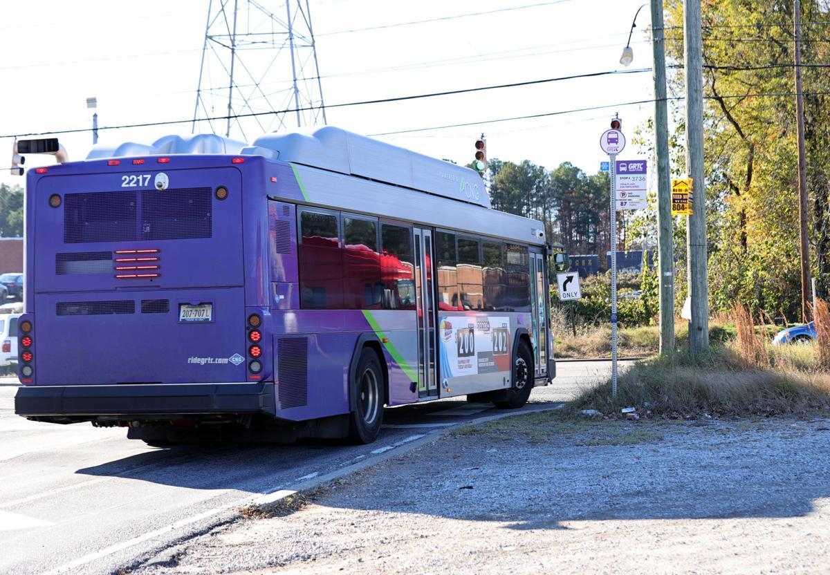 GRTC bus stop on Bellemeade Road near intersection Jefferson Davis