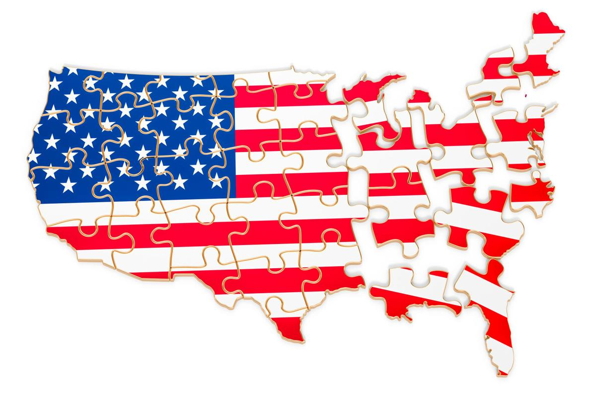 The USA map from puzzles. 3D rendering isolated on white background