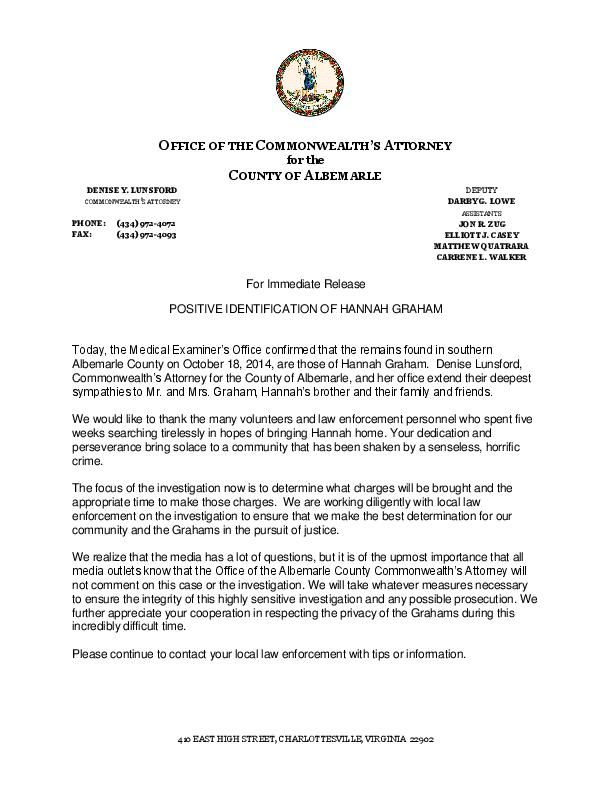 Commonwealth attorney hannah graham id press release for Album press release template