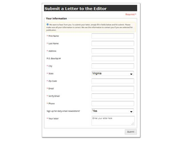 Interact with us - Submit a Letter to the Editor