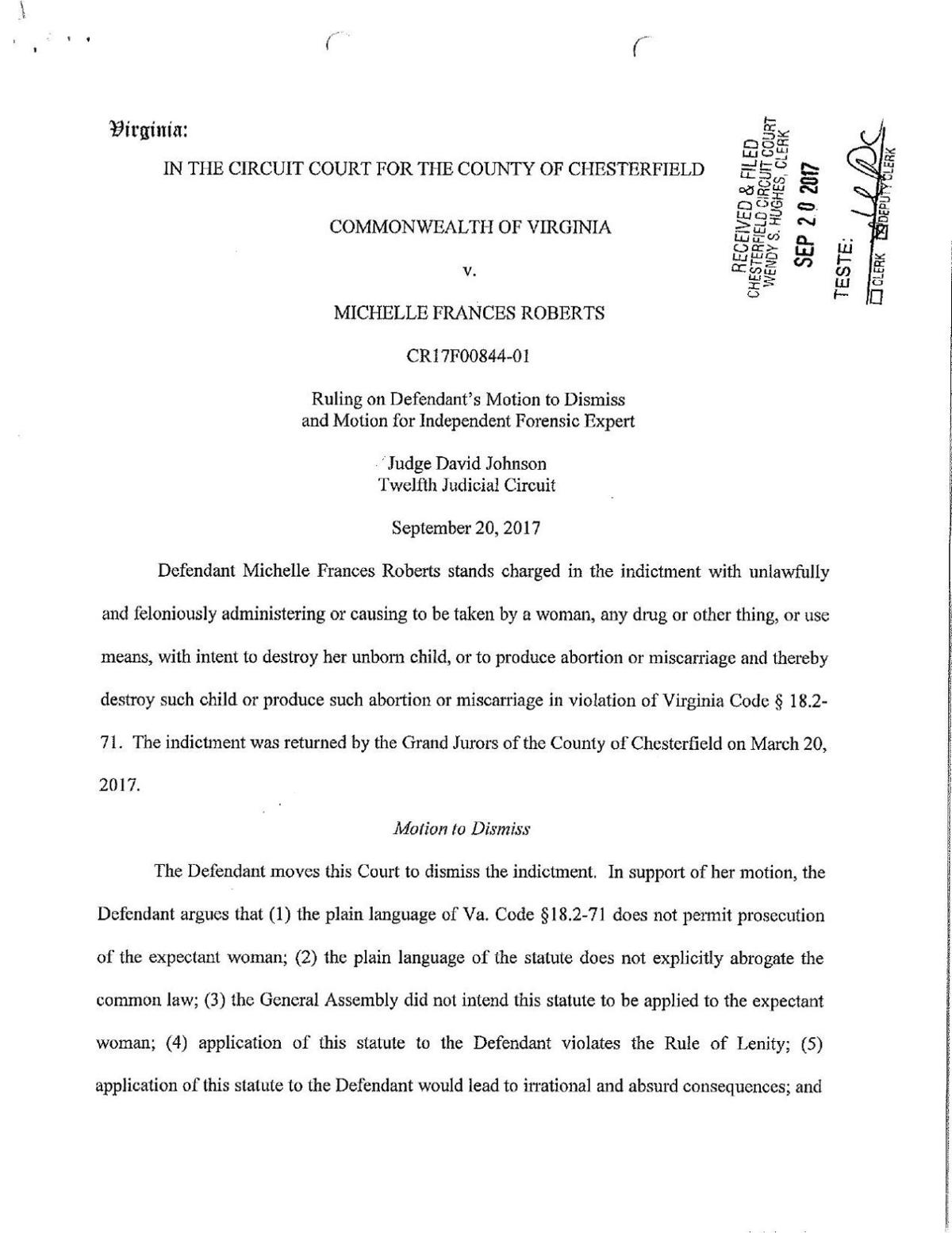 Judge David Johnson's ruling in the Michelle Frances Roberts case