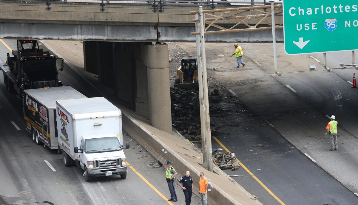 PHOTOS: Tractor-trailer overturns on I-95 in Richmond