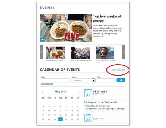 Interact with us - Submit a calendar listing