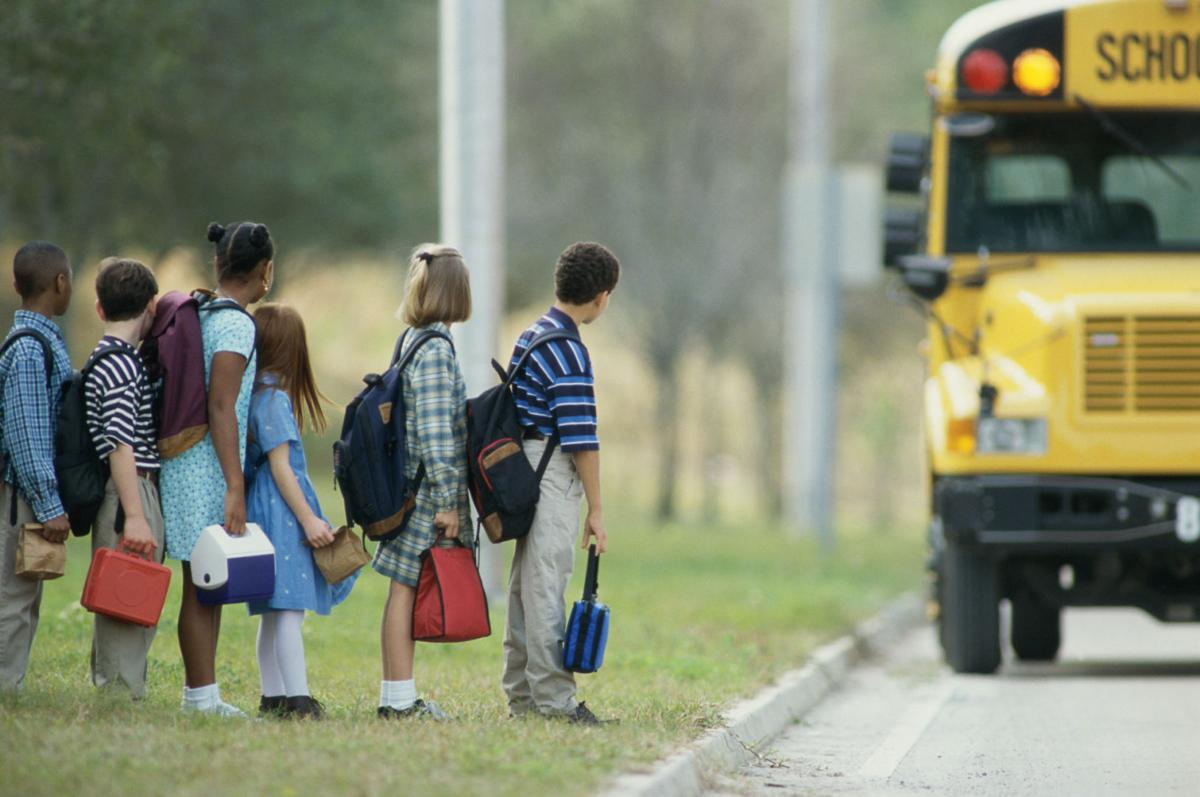 Students waiting for school bus