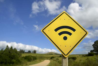 Wifi access road sign concept in rural area