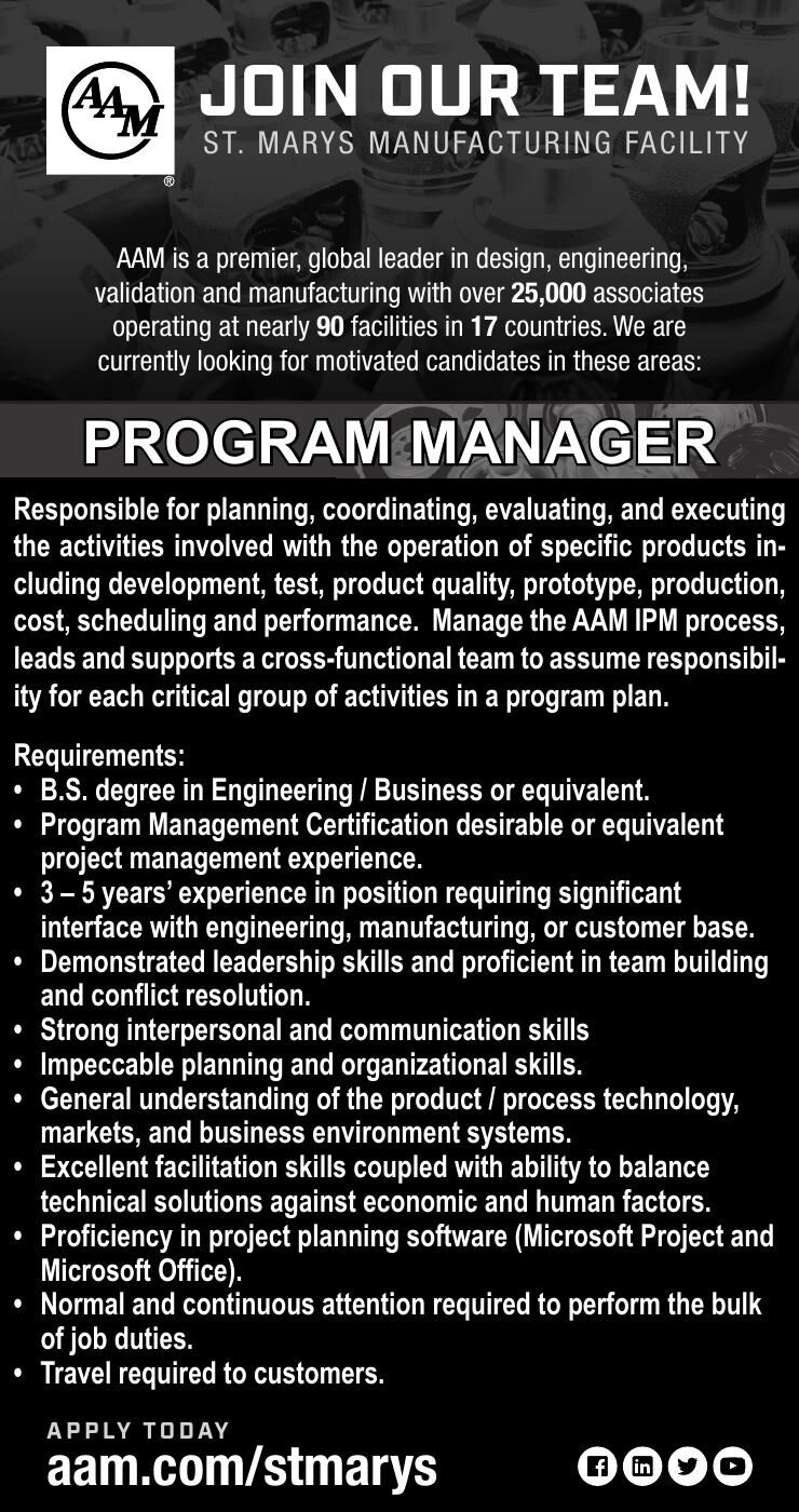 American Axle, St. Marys - Program Manager