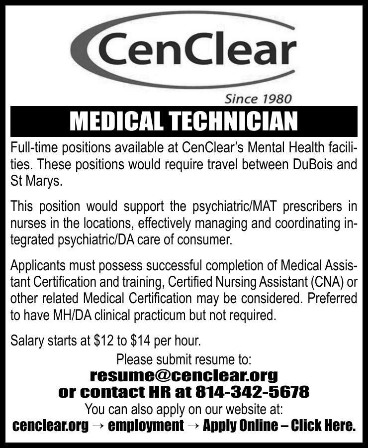 CenClear, St. Marys - Medical Technician