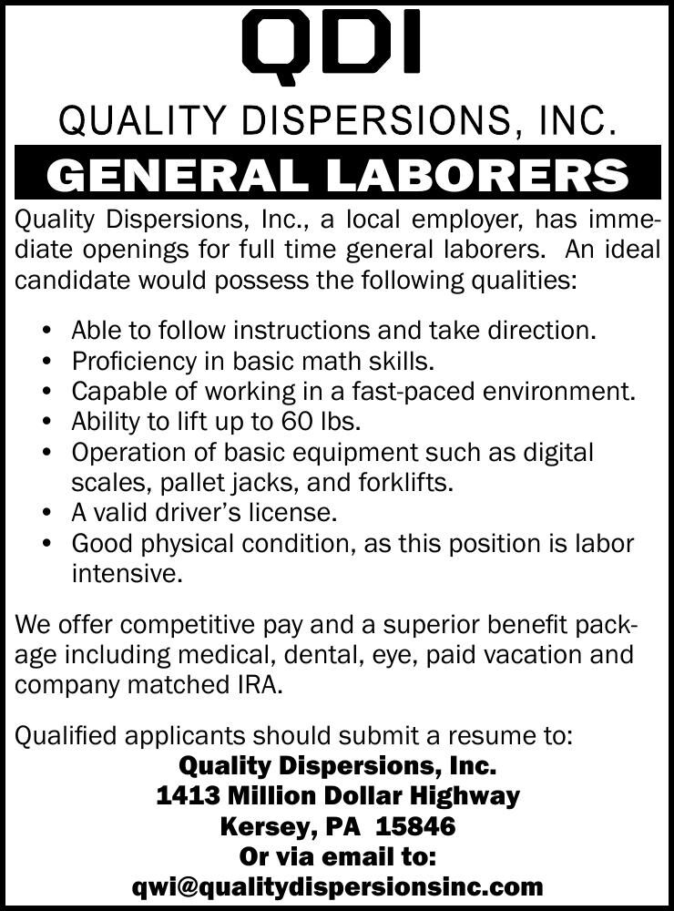 Quality Dispersions, Inc., Kersey - General Laborers