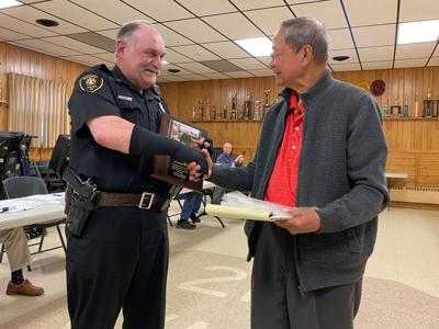 Ridgway Borough Council, Mayor  Guillermo Udarbe presented a 20-year service award to Police Chief Ralph Tettis