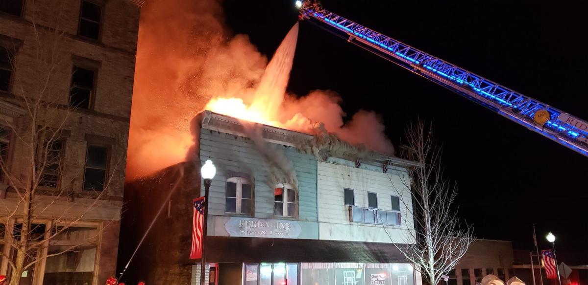 Ferragine building during the April 13-14 fire