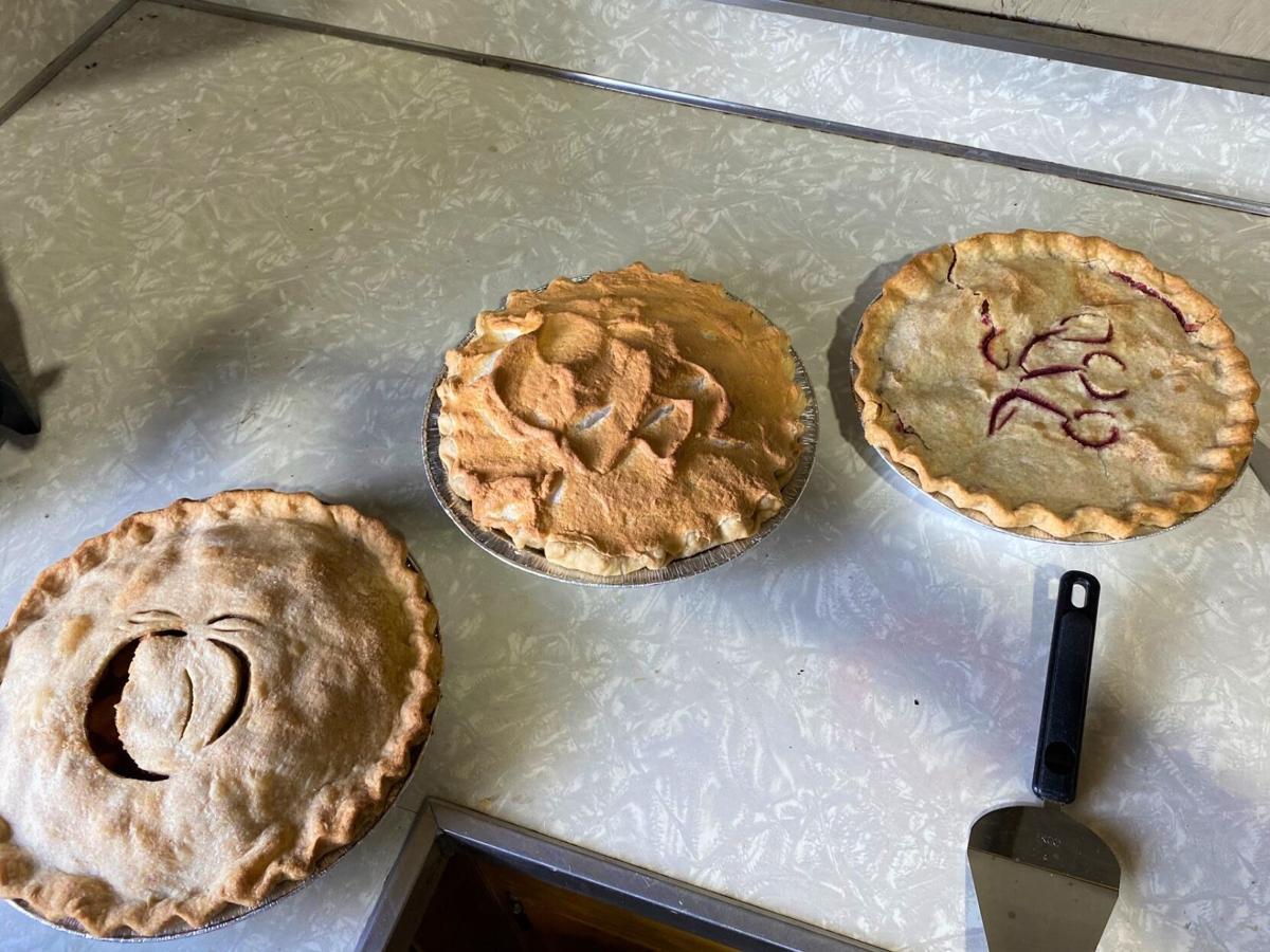 Mary Ellen Badeau's homemade Apple, Lemon Meringue, and Cherry pies