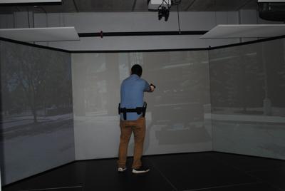 Police simulator column