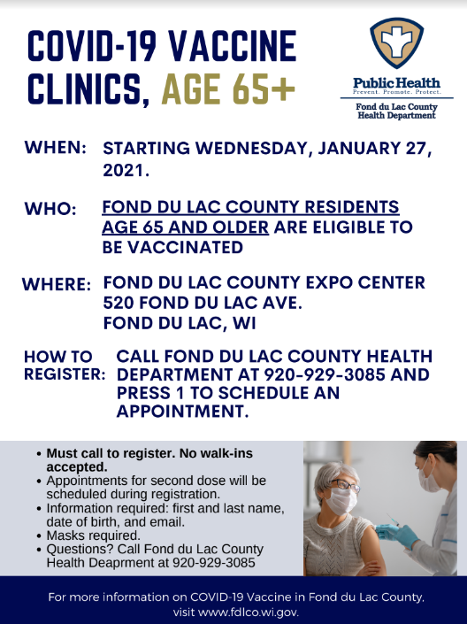 Fond du Lac County to offer COVID-19 vaccine clinic for elderly beginning Jan. 27