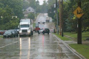 Rain gushes down on Ripon