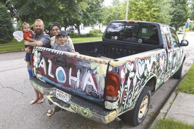 Jonathan Gatzke and Lelani Sanchez with their truck