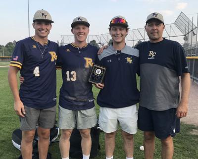 Seniors Jaden Schwantz, Michael Krueger and Jake Rivard, and head coach Ryan Bishop
