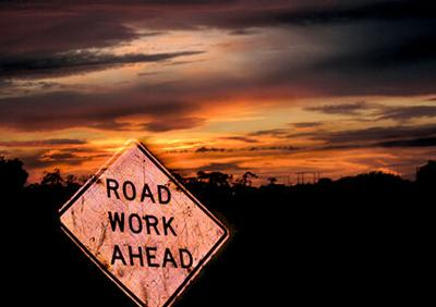 Road work ahead RTSA sunset