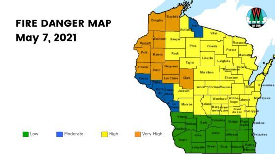 Wisconsin fire danger map for May 7, 2021