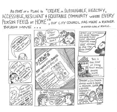 Editorial cartoon Anne Wilder, Red Wing council and police chief