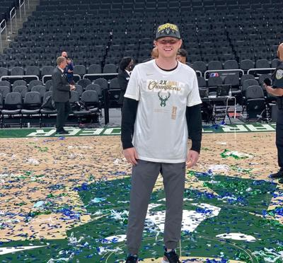Jack Herum of River Falls on the court at Fiserv Forum