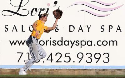 River Falls' right fielder Josh Cleveland