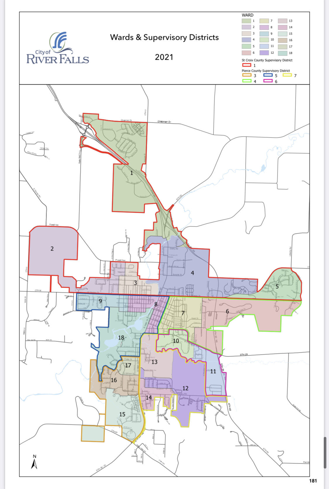 River Falls wards and supervisory districts 2021
