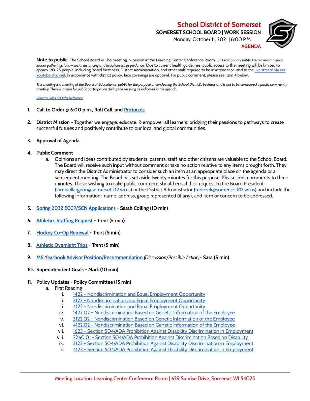 Somerset School Board agenda Oct. 11