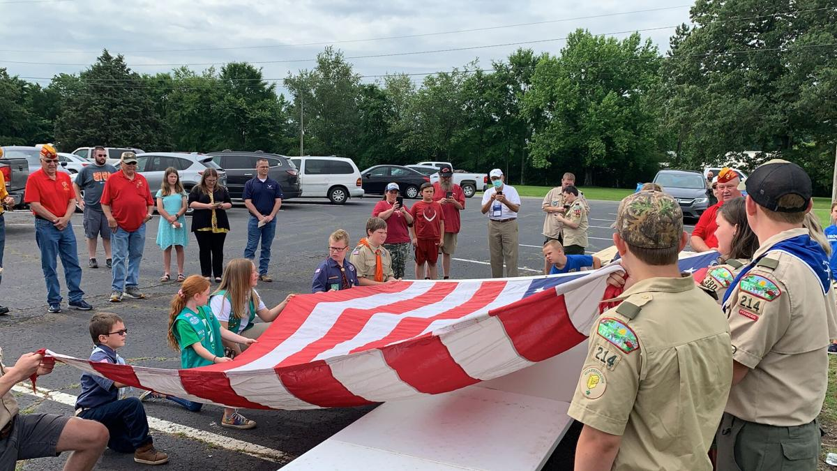 Veteran organizations and Boys and Girl Scouts participate in United States Flag Honorable Destruction Ceremony