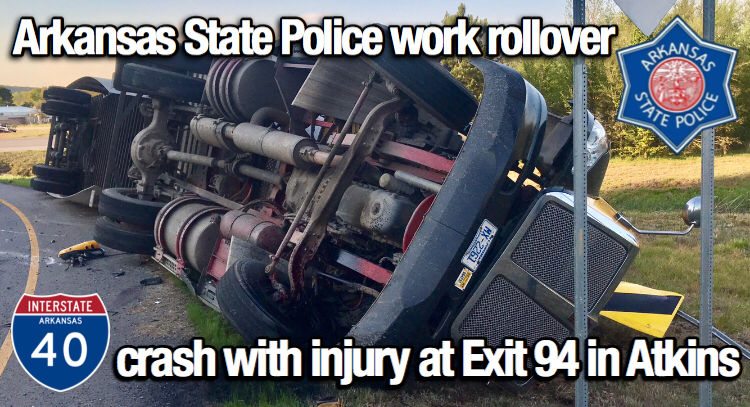 Arkansas State Police, Atkins FD and EMS 132 work rollover crash
