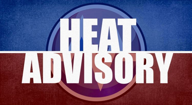 Heat Advisory in effect from 11 AM this morning to 8 PM this evening
