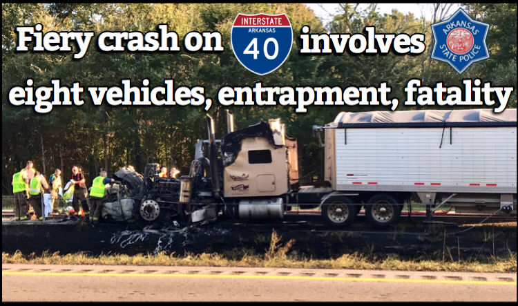 Fiery crash on I-40 involves eight vehicles, entrapment and one fatality