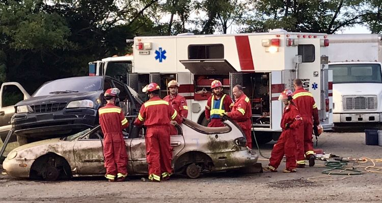 Pope County EMS Rescue conducts auto extrication training