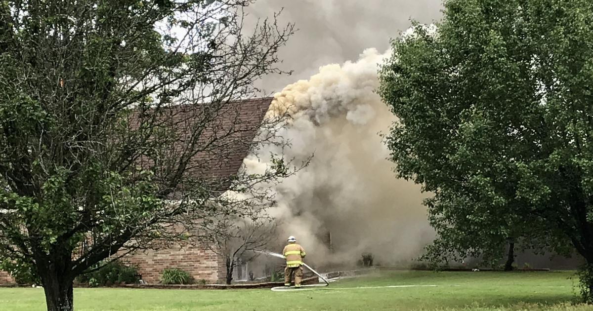 Firefighters battle Saturday afternoon blaze on Walleye Drive