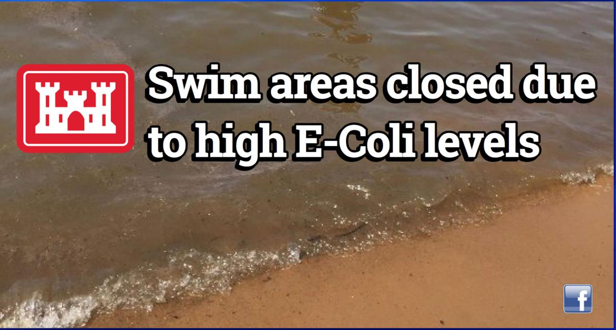 Swim areas closed by U.S. Army Corps of Engineers due to high E-Coli levels