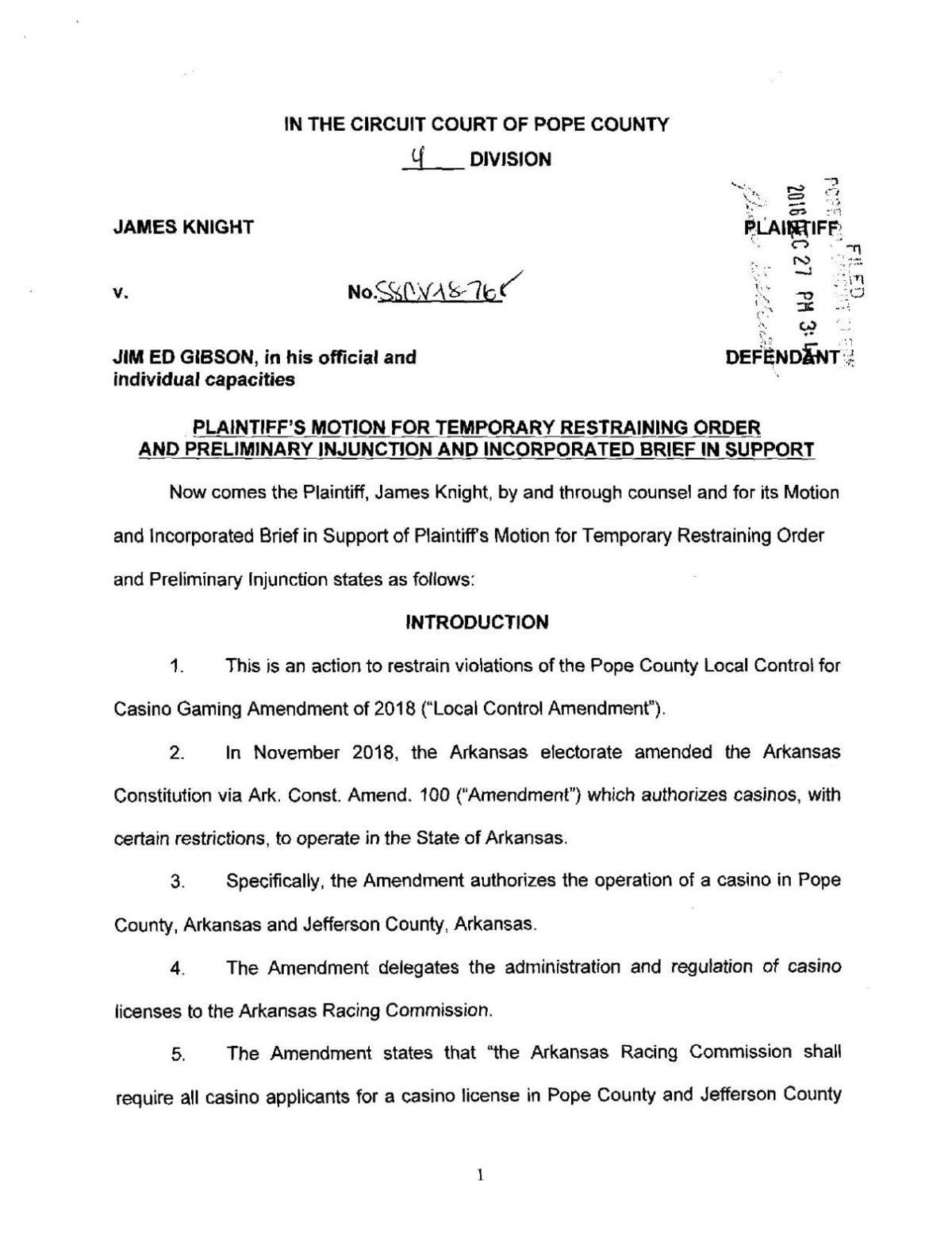 Pope County: Filed Motion for TRO