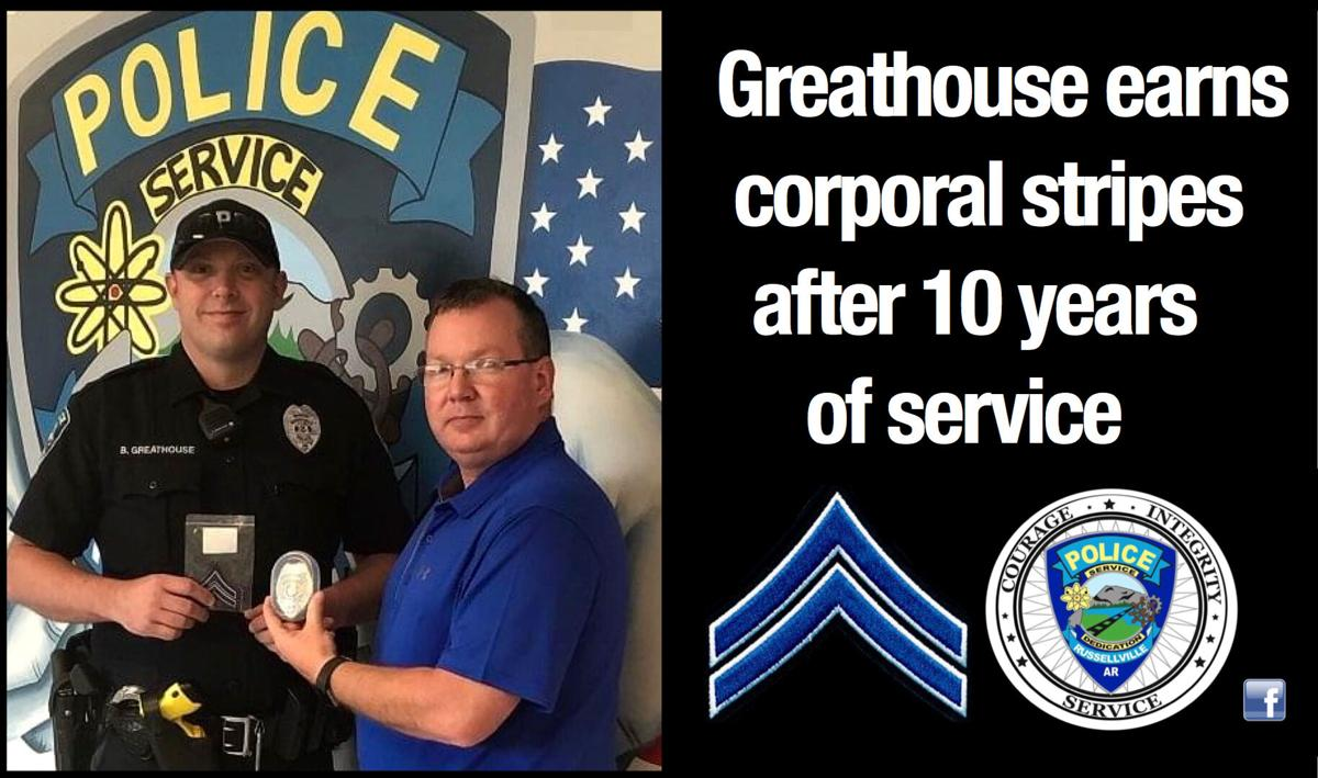 Greathouse earns corporal stripes after 10 years of service with RPD